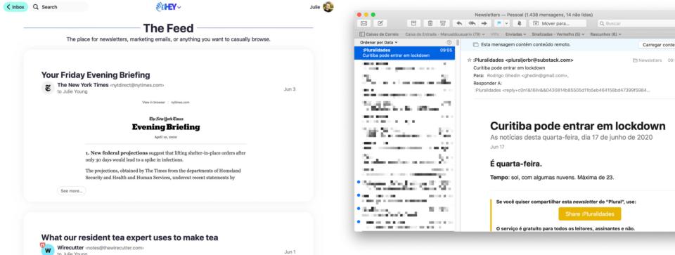 Dois prints lado a lado: o feed do Hey e o Apple Mail mostrando a etiqueta de newsletters que configurei manualmente.