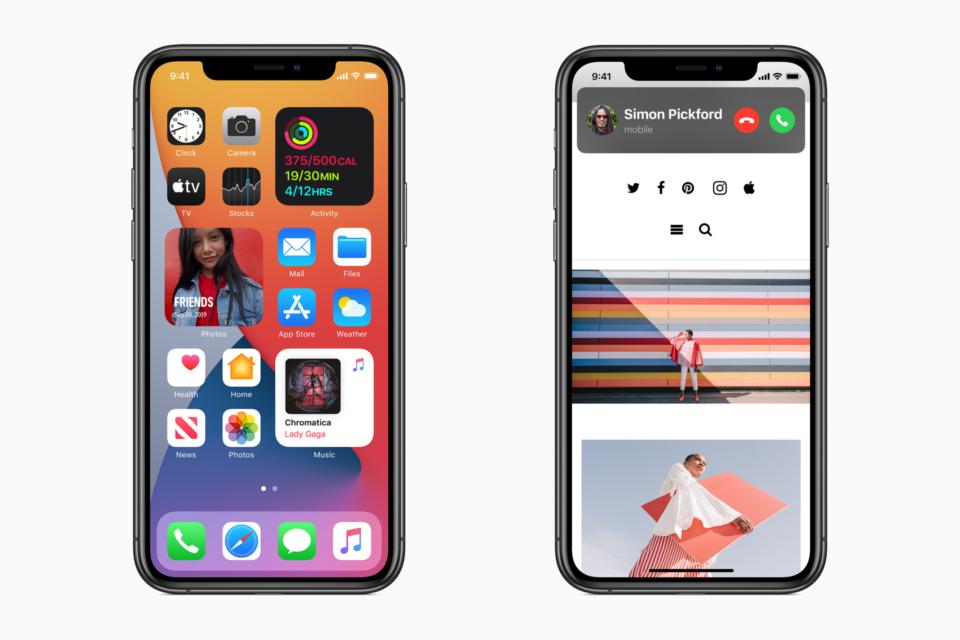 Dois prints do iOS 14: um mostrando widgets na tela inicial e outro a nova interface de chamada recebida com uma discreta notificação no topo da tela.