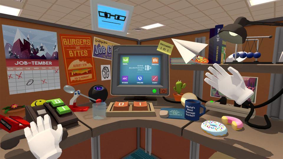 Quadro do jogo Job Simulator mostrando um computador em um cubículo dentro de um escritório.