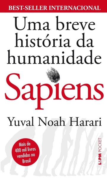 """Capa do livro """"Sapiens: Uma breve história da humanidade""""."""