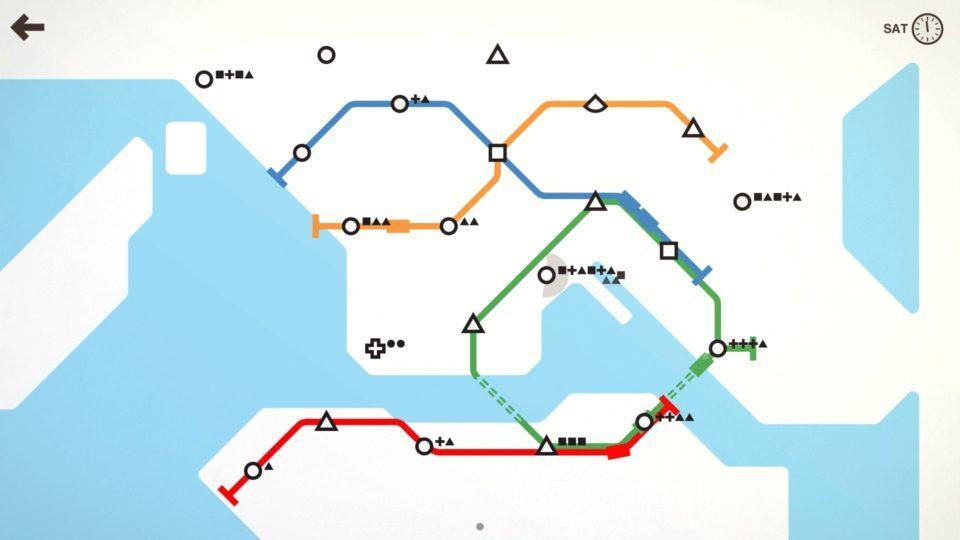 Mapa de Mini Metro com rios e algumas linhas de metrô criadas.