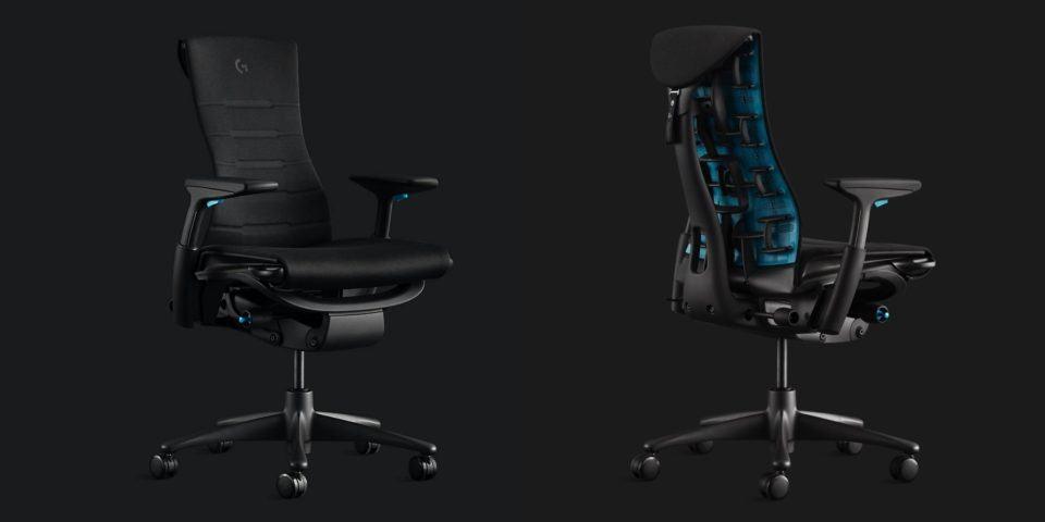 Duas fotos lado a lado, uma frontal e outra das costas, da Embody Gaming Chair, cadeira gamer da Herman Miller.