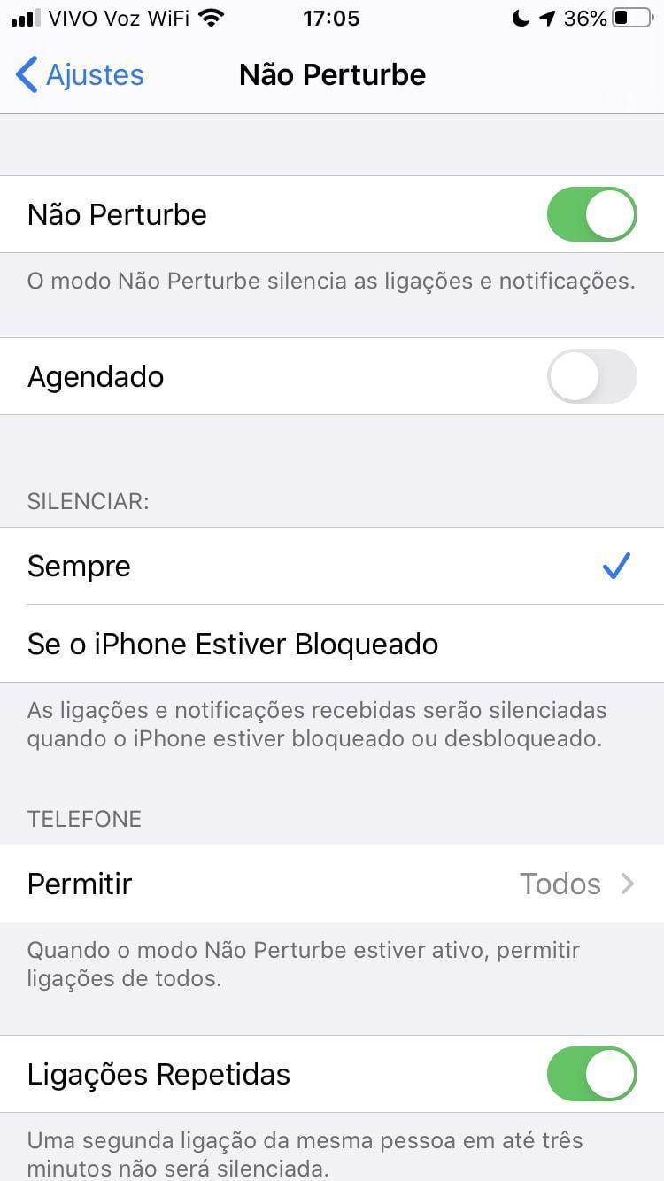 Print da tela de configurações do recurso Não Perturbe, no iOS 13.