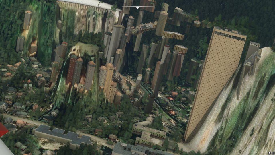 Prédios misturados com montanhas e florestas, um evidente erro de renderização em Flight Simulator.