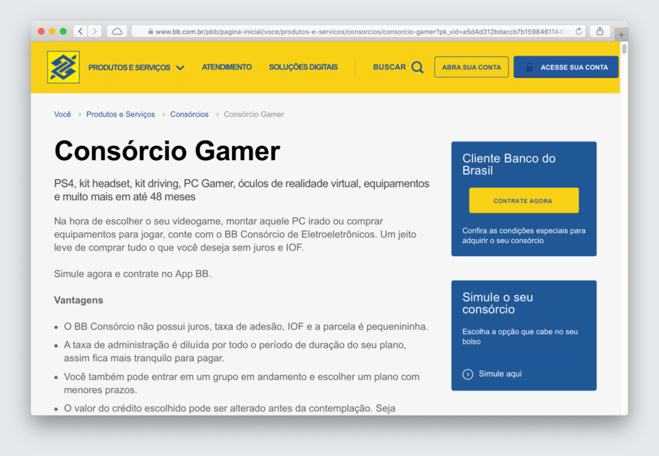 Print da página do Consórcio Gamer do Banco do Brasil.