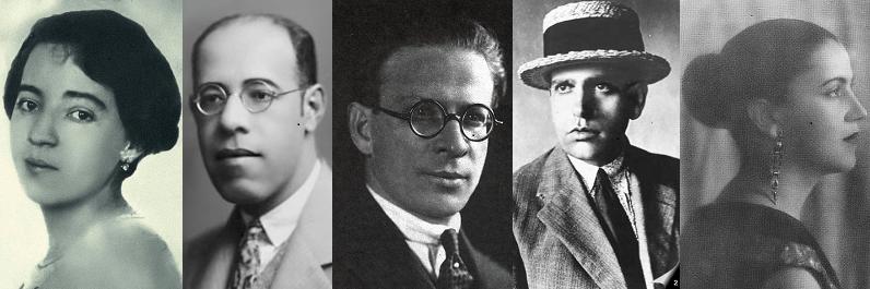Fotos de rosto de modernistas brasileiros.