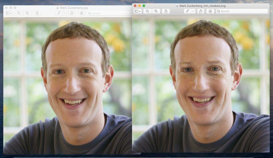 Duas fotos de rosto de Mark Zuckerberg sorrindo, lado a lado.