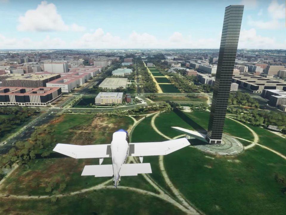 Avião de pequeno porte voando em direção ao Monumento de Washington que, no jogo, foi transformado em um prédio simples de escritórios.