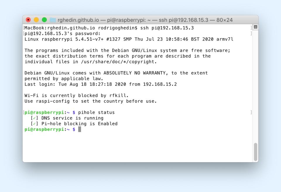 Print do terminal do macOS conectado ao Raspberry Pi via SSH.