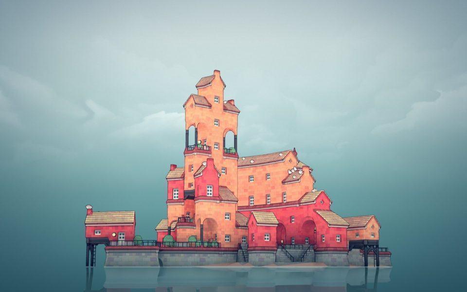 Cena do jogo Townscaper mostrando uma ilha pequena com prédios conectados, em arquitetura escandinava e na cor rosa; ao fundo, céu nublado.