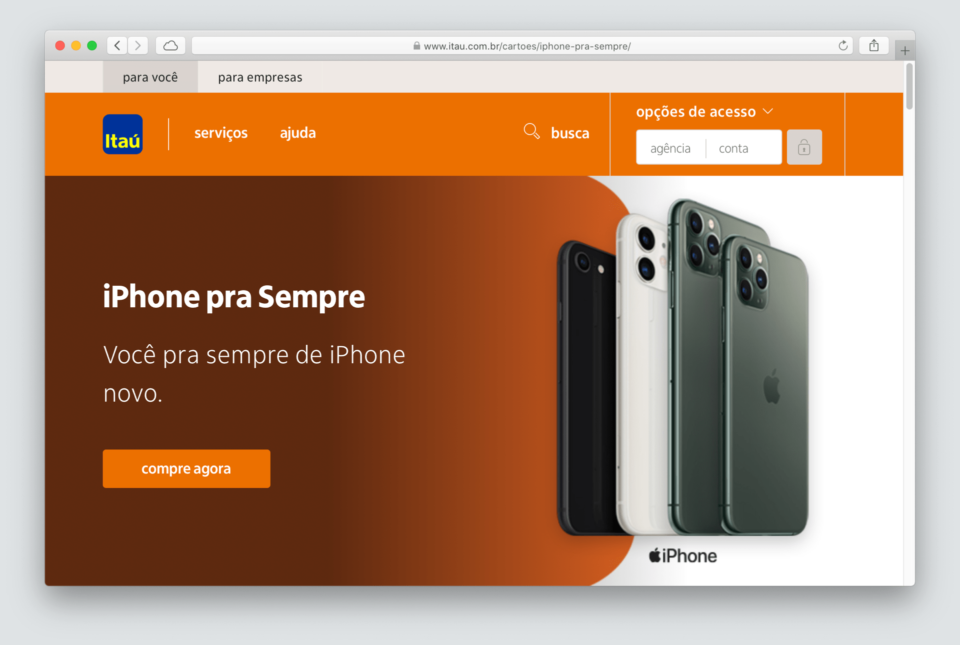Print da página do iPhone para Sempre no site do Itaú.