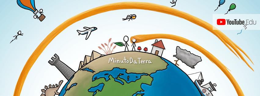 Desenho do mundo com personagens ao redor; no centro, o título do canal, Minuto da Terra.