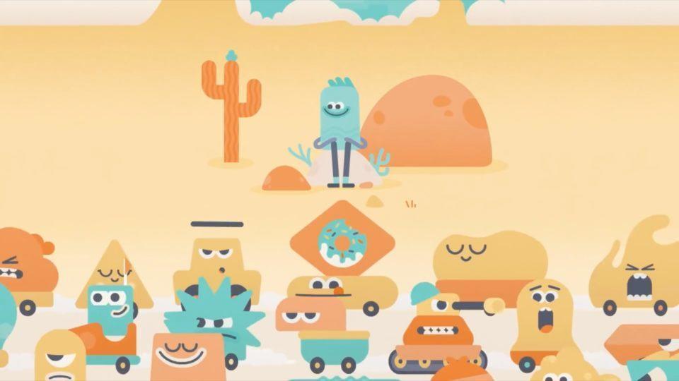 Trecho da animação do Headspace. Um boneco está à beira da estrada, em uma espécie de deserto, e na rodovia passam muitos carros de formas diferentes, com olhos e expressões humanas.