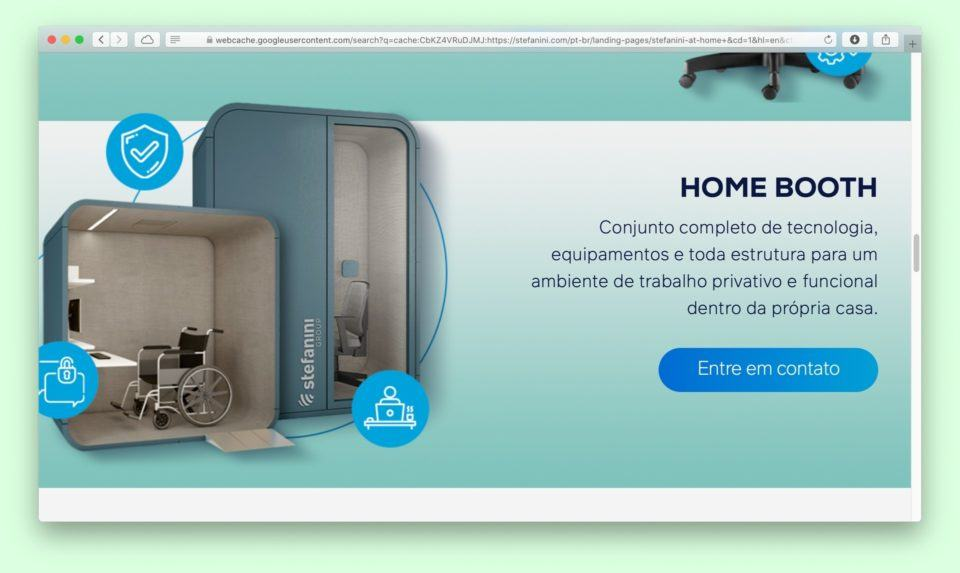 Print do site da Stefanini no Safari, mostrando a cabine Home Booth com um descritivo ao lado.