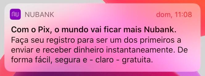 Recorte da notificação do Nubank avisando do Pix em um iPhone.