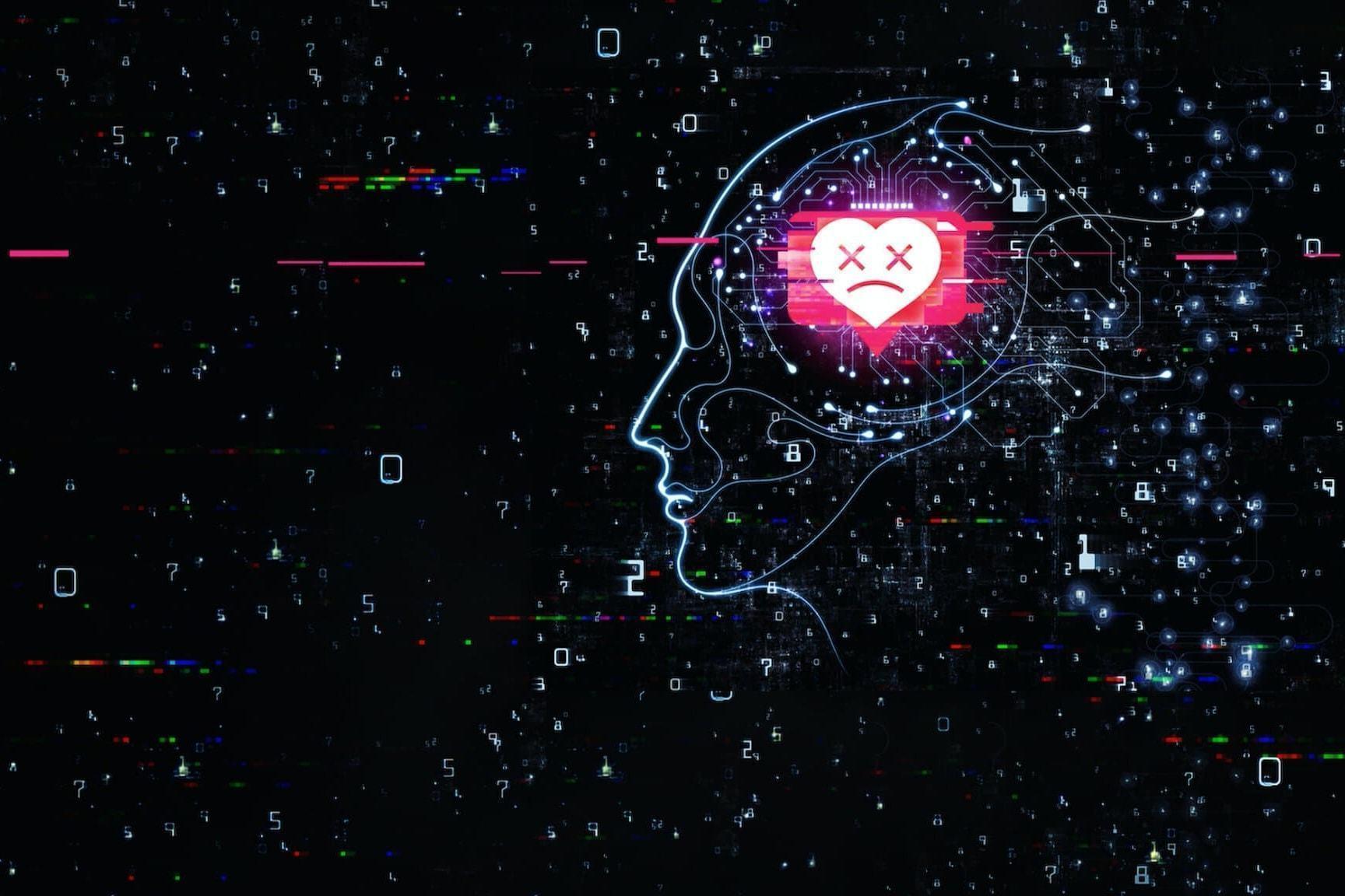 """Fundo preto com números e glitches. À direita, o perfil de uma cabeça humana com contornos luminosos e, no lugar do cérebro, o ícone de um coração com os olhos em """"x"""", como se estivesse morto."""