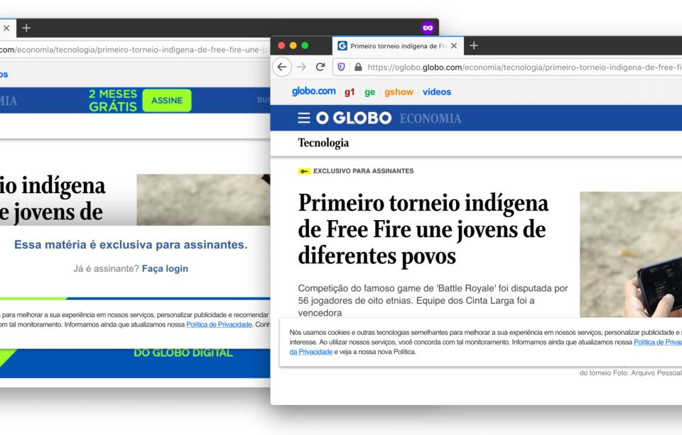 Dois prints de uma notícia do site do O Globo. À esquerda, um popup informa que ela é exclusiva para assinantes. À direita, ela aberta graças ao Burlesco.