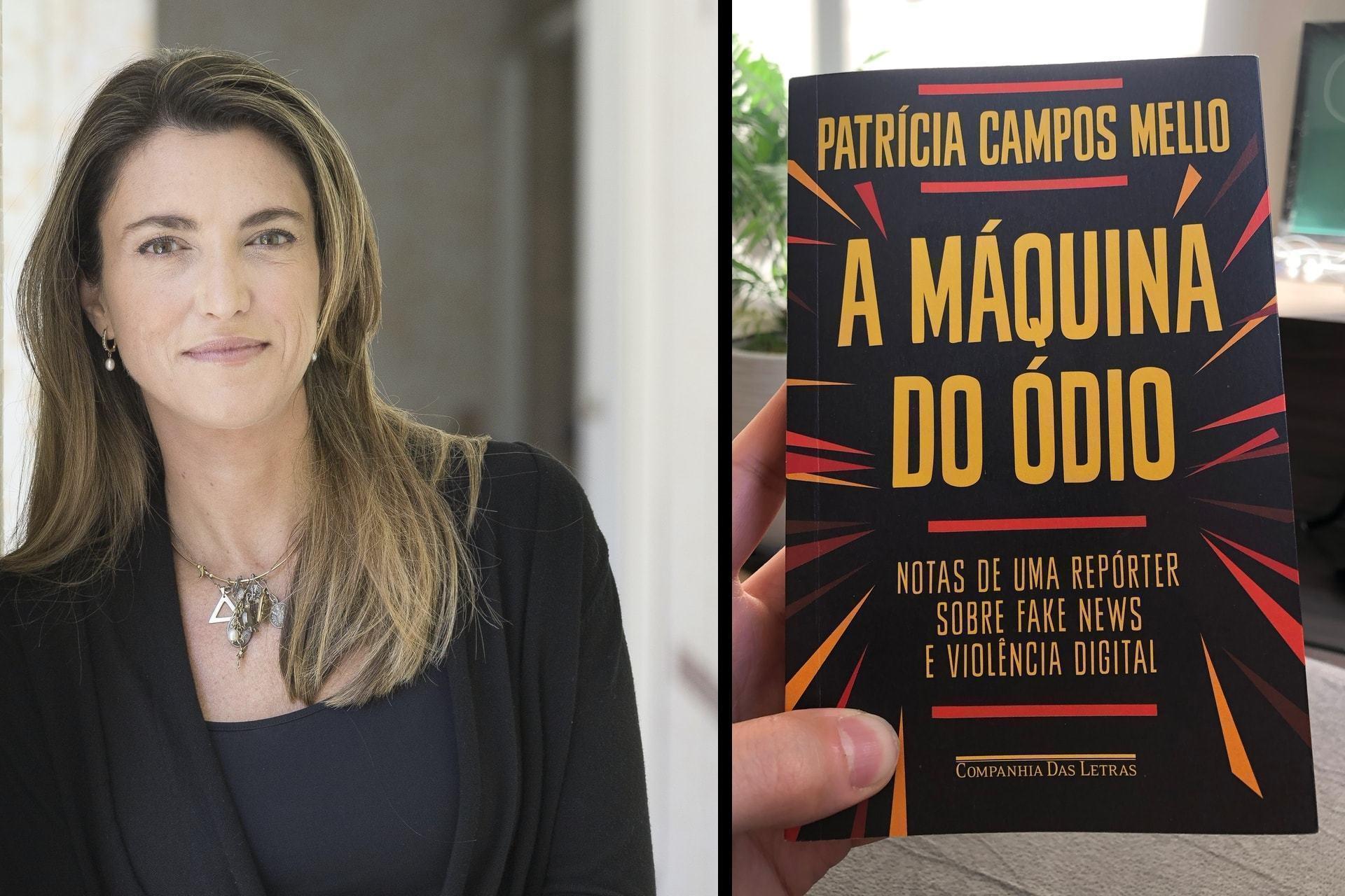 """Montagem com uma foto da Patrícia à esquerda e, à direita, foto da capa do livro """"A máquina do ódio""""."""
