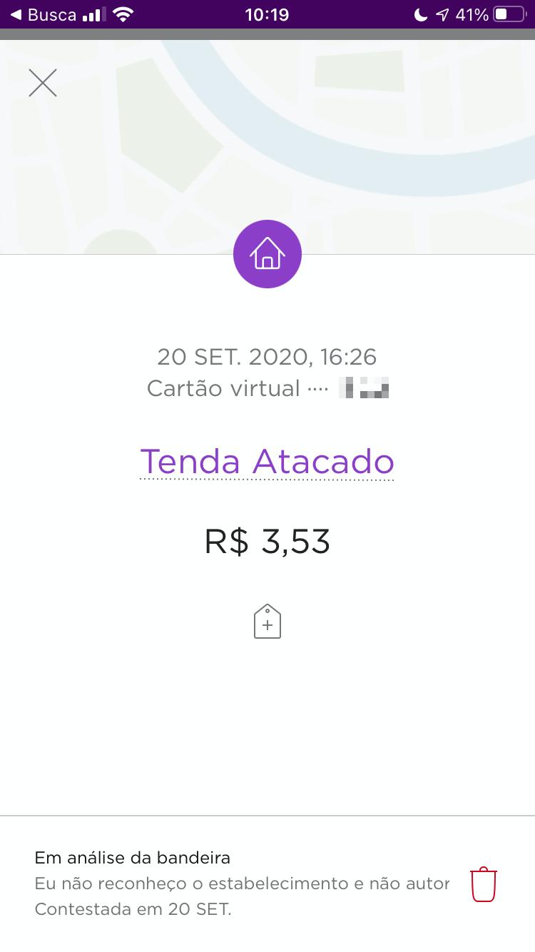 Print do app do cartão de crédito mostrando a compra na Tenda Atacado, de R$ 3,53, contestada.