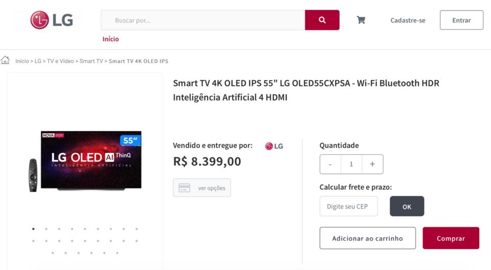 Print da loja virtual da LG, mostrando a TV OLED CX de 55 polegadas por R$ 8,4 mil.