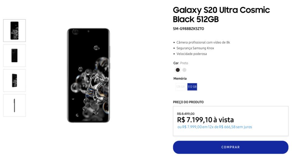 Print da loja da Samsung, na página do Galaxy S20 Ultra.