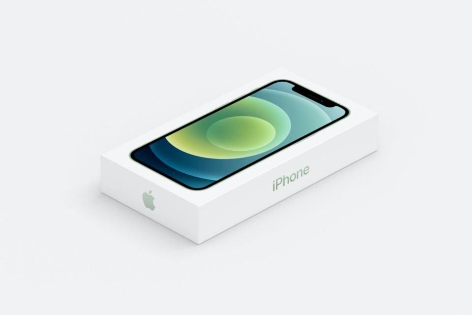 Nova caixa do iPhone 12, cor verde, em tamanho reduzido, em um ambiente branco.