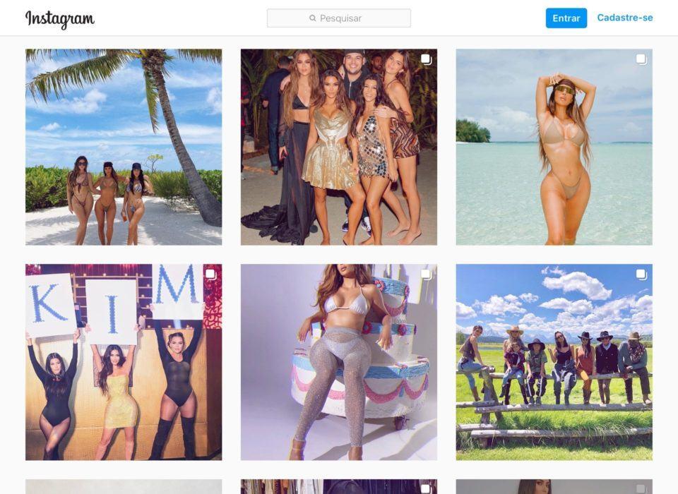 Print de miniaturas de fotos recentes no perfil de Kim Kardashian no Instagram.