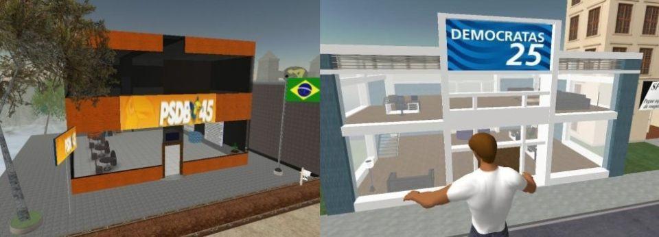 Fotos lado a lado com os prédios virtuais do PSDB e do Democratas no jogo Second Life.