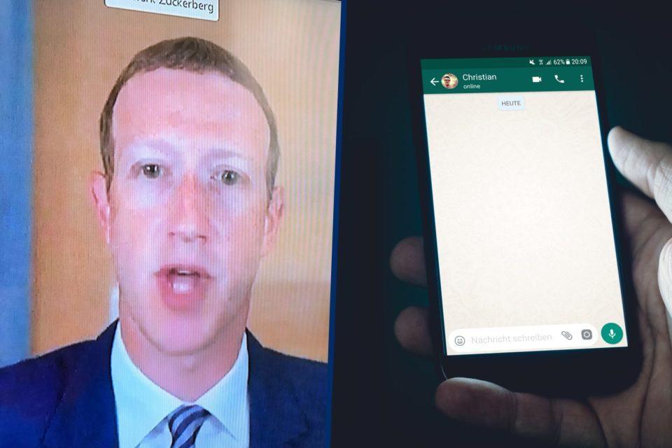 Montagem: à esquerda, foto de uma TV exibindo Mark Zuckerberg; à direita, uma mão segurando um celular com uma conversa do WhatsApp aberta.