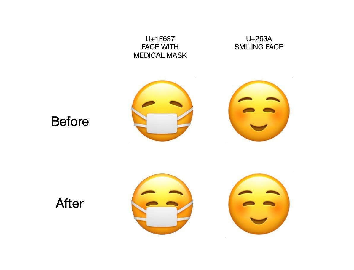 Comparativo de emojis sorridentes e de máscaras no iOS.
