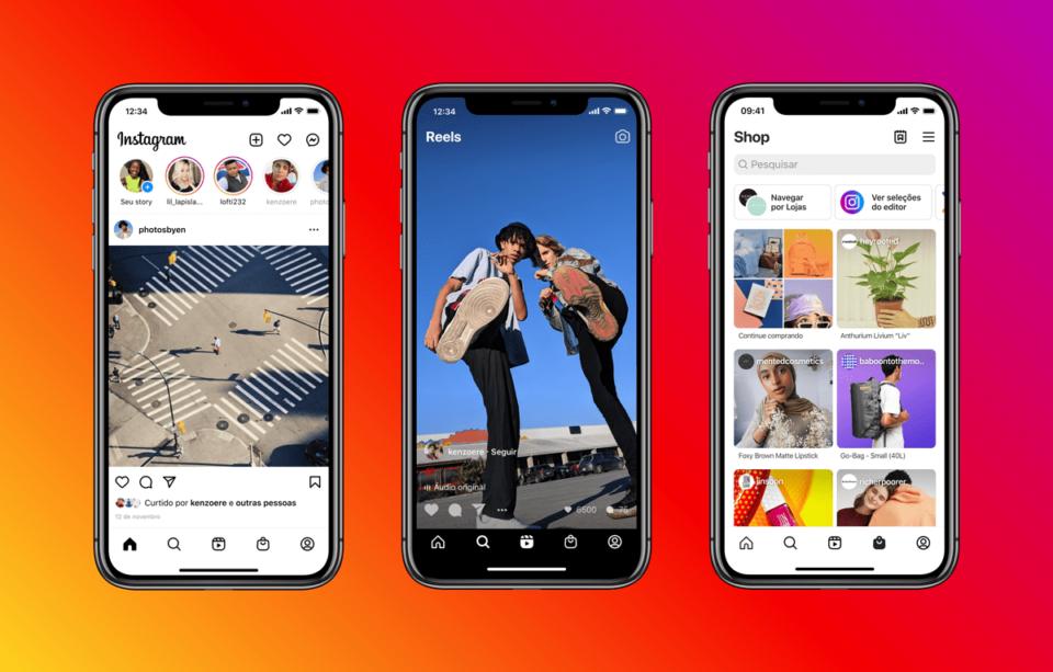 Três prints da nova interface inicial do Instagram, com as abas de lojas e do Reels.