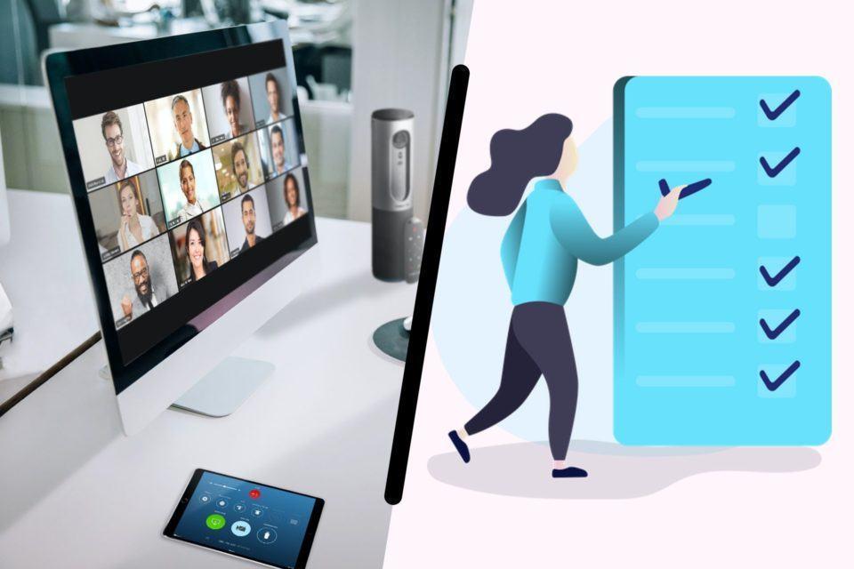 Montagem. À esquerda, monitor com vários rostos na tela em uma videochamada do Zoom. À direita, ilustração de uma mulher ao lado de uma folha enorme azul, com uma lista de tarefas; ela segura um sinal, como se fosse colocar na lista.
