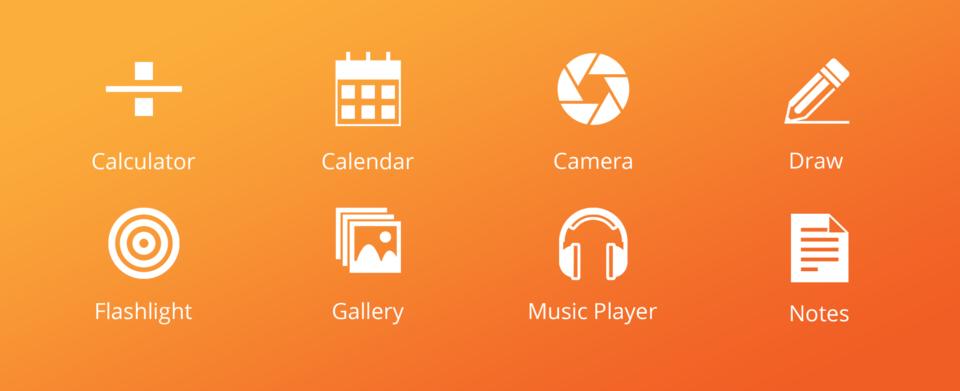 Ícones dos oito primeiros apps de Tibor contra um fundo alaranjado.