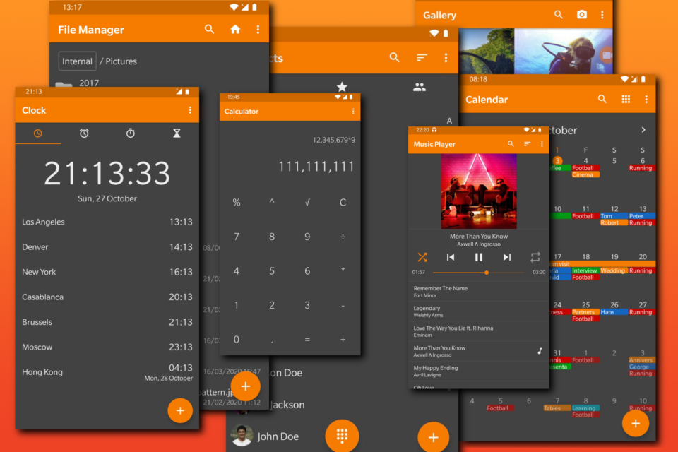 Montagem com vários prints de apps do Simple Mobile Tools.