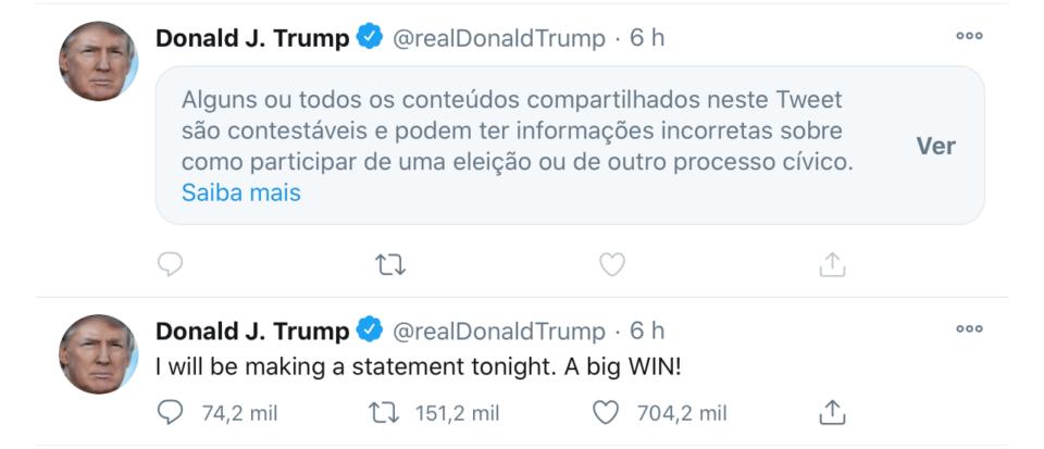 Tuítes de Trump com um rótulo dizendo que a mensagem pode conter informações incorretas a respeito das eleições.
