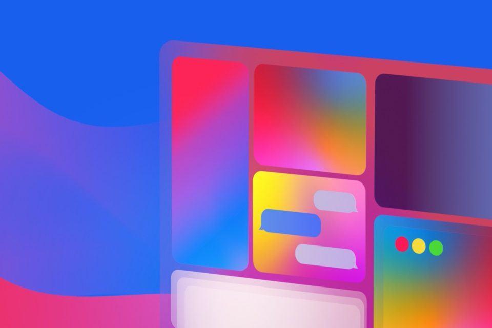 Widgets multicoloridos organizados em um quadro à direita da imagem.
