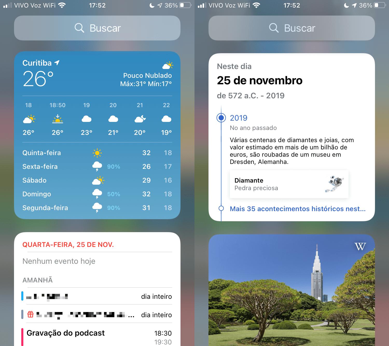 Dois prints com widgets da previsão do tempo, agenda de compromissos e os da Wikipédia.