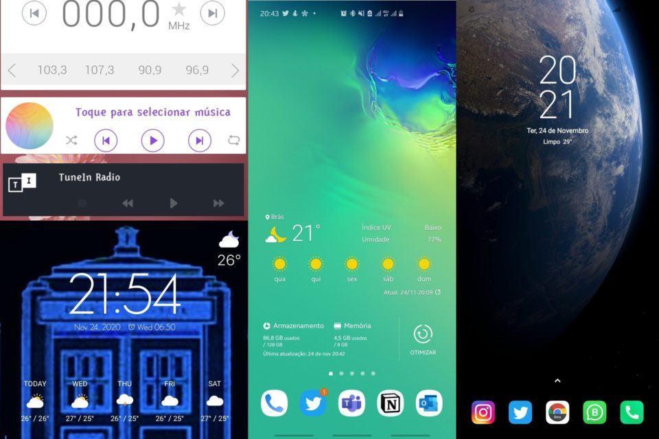 Montagem com quatro telas iniciais do Android, contendo widgets.