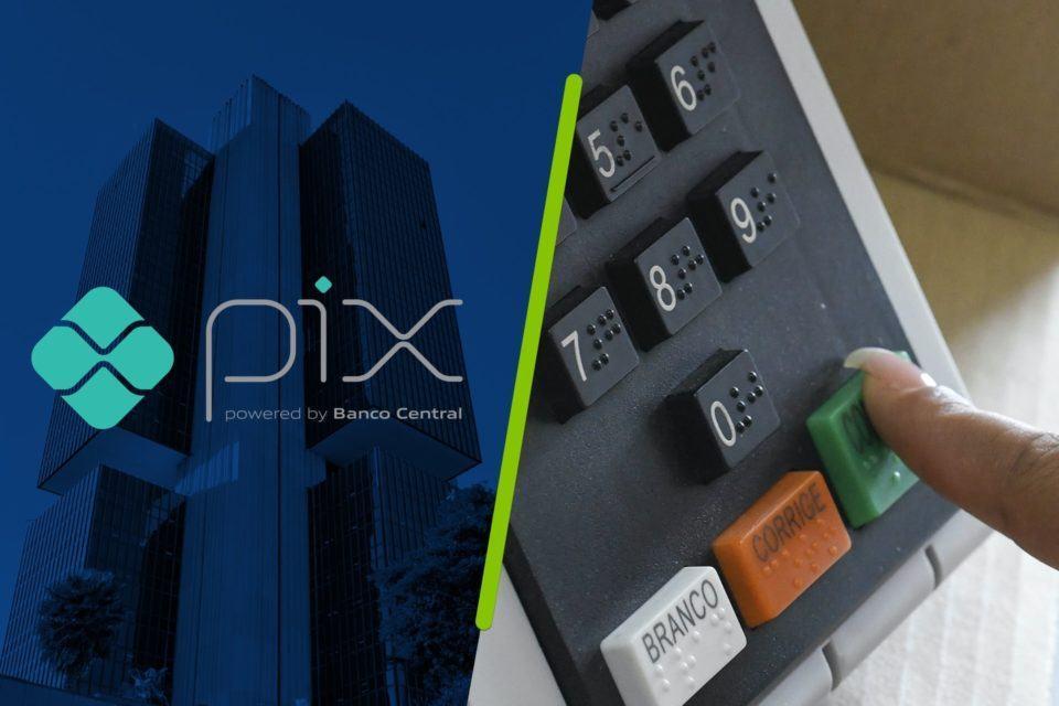 Montagem. À esquerda, foto do prédio do Banco Central editada para ficar azul, com o logo do Pix à frente. À direita, foto em close da urna eletrônica brasileira com um dedo de unha grande apertando a tecla Confirma.