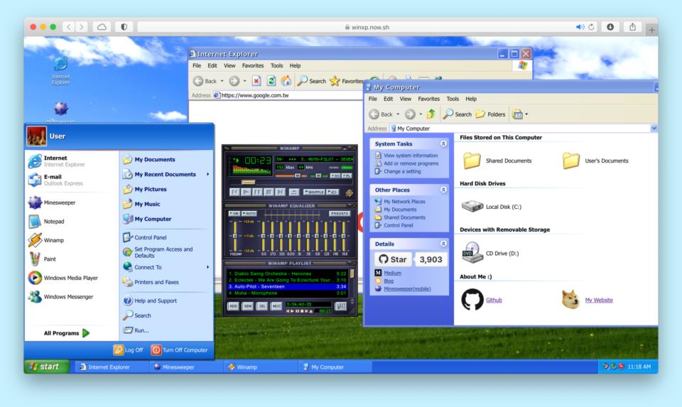 Print do Windows XP na web, rodando em uma janela do navegador Safari do macOS.