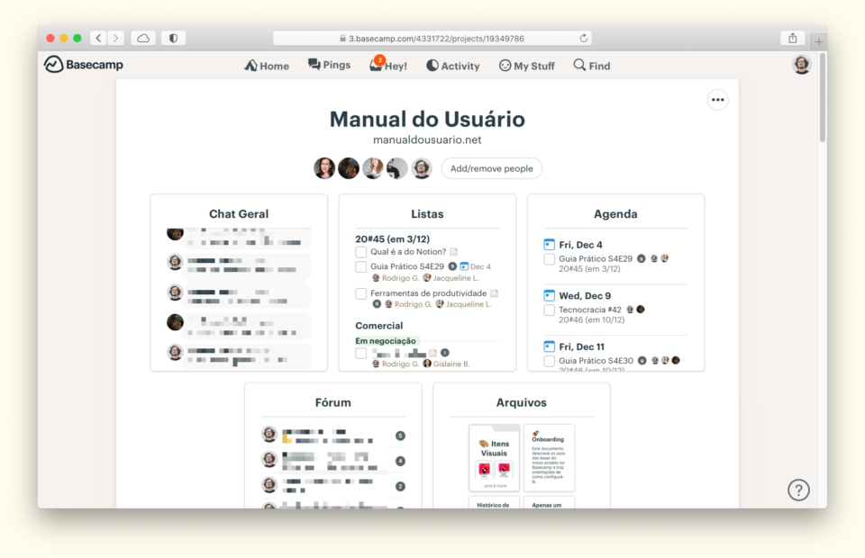 Print do Basecamp do Manual do Usuário, mostrando as várias áreas do projeto e com uma notificação de duas mensagens não lidas no topo.