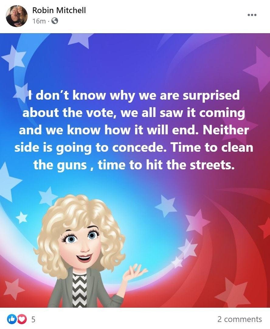Post no Facebook do grupo Stop the Steal, com ameaça do uso de armas.