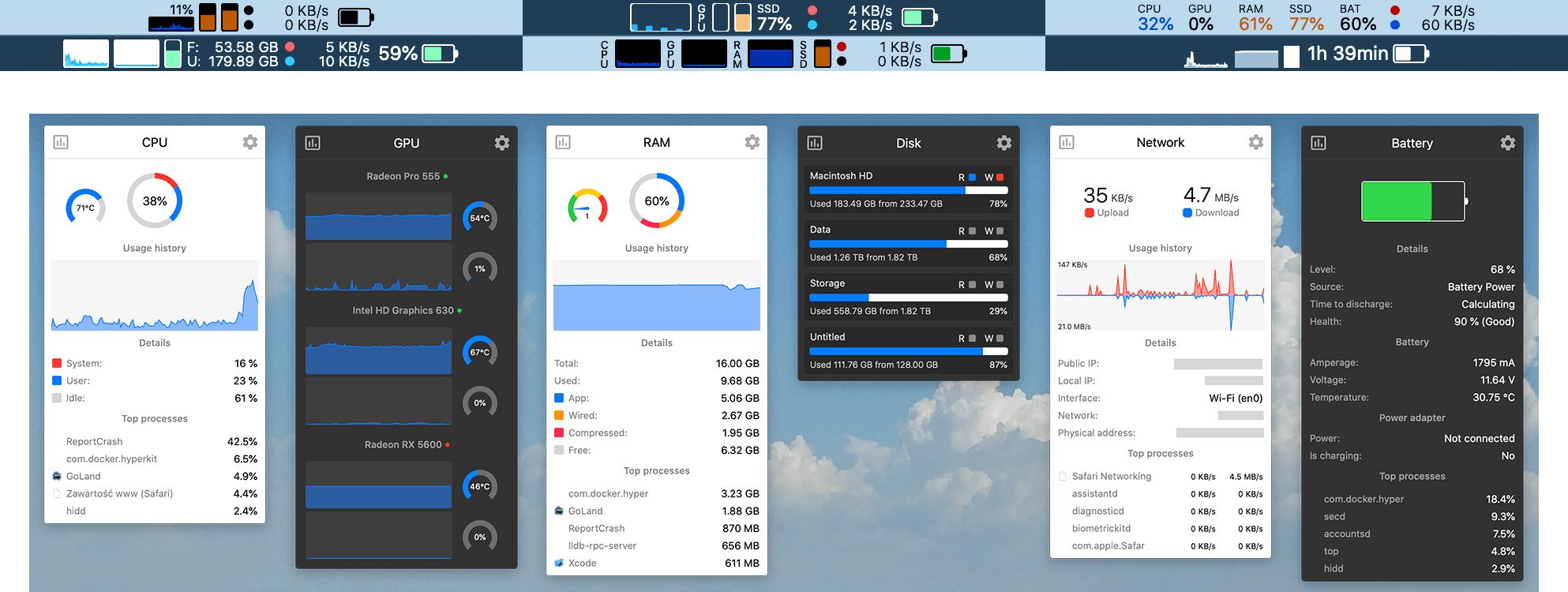 Prints de diferentes configurações do Stats, na barra de menu e das janelas suspensas com mais detalhes.