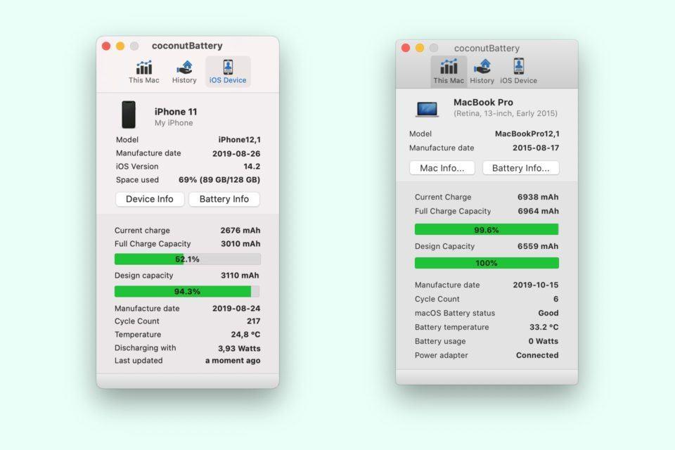 Dois prints do coconutBattery, um de um iPhone 11, outro de um MacBook Pro.