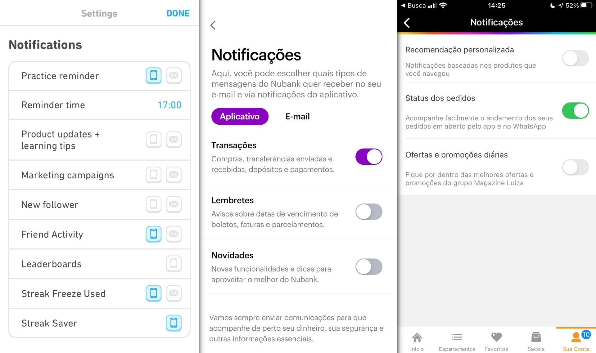 Prints das telas de configuração de notificações dos apps Duolingo, Nubank e Magazine Luiza.