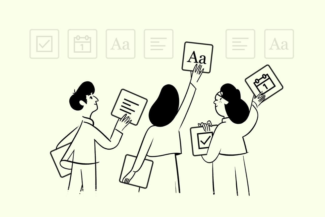 Ilustração de três pessoas com quadros nas mãos, representando tipos de conteúdo, colocando-os em uma parede.