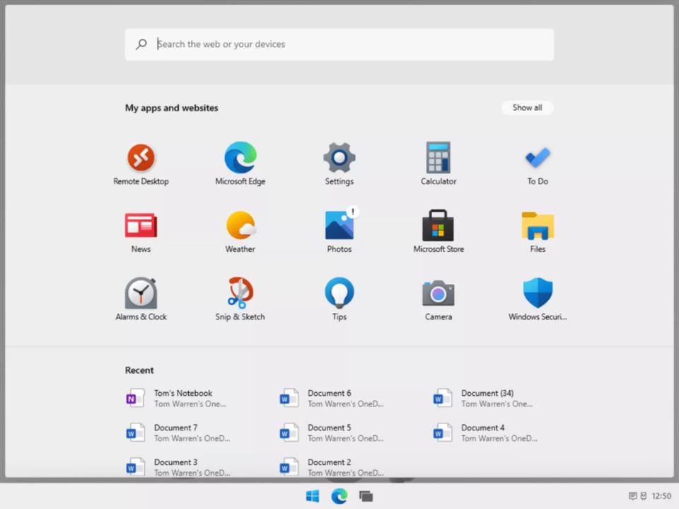 Menu Iniciar do Windows 10X ocupando a tela toda com barra de pesquisa, apps e sites e arquivos usados recentemente.