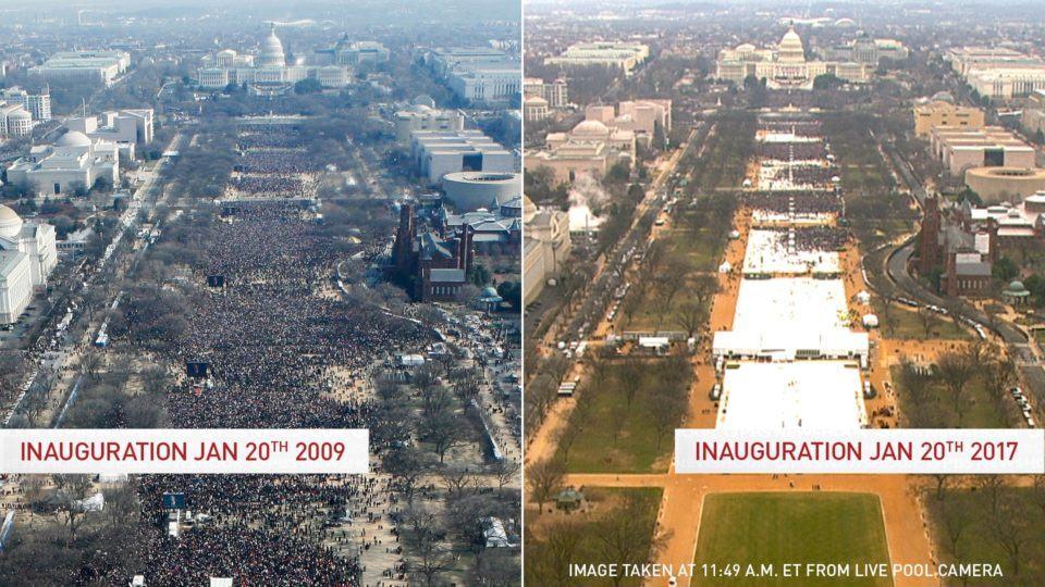 Duas fotos, lado a lado, mostrando a quantidade de pessoas que foram à posse de Obama em 2009 e Trump em 2016.
