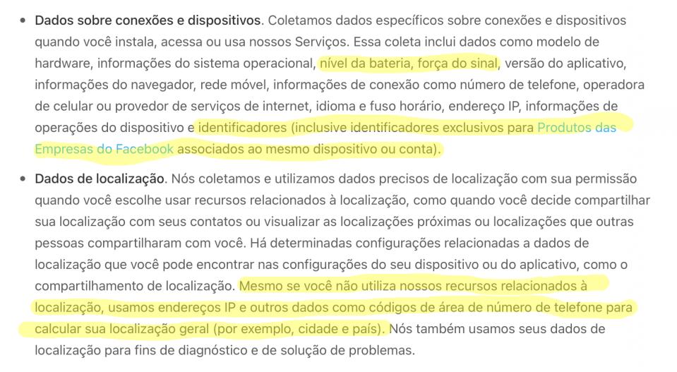 """Trecho da nova política de privacidade, subtópicos """"Dados sobre conexões e dispositivos"""" e """"Dados de localização"""", destacados em amarelo."""