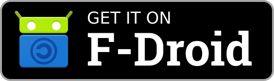 """Selo """"Get it on F-Droid"""", usado em sites para sinalizar a disponibilidade de um app na F-Droid."""
